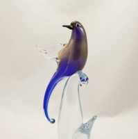 Murano Glass Birds of Paradise Open wings Cobalt/Gold Pair