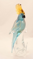 Murano Glass Parrots Aqua Gold Pair
