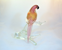 Parrot on a branch ruby and gold murano glass