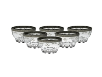 Set of 6 Dessert Bowls with Rich Silver Artwork