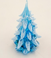 Blue Glass Snow Covered Christmas Tree