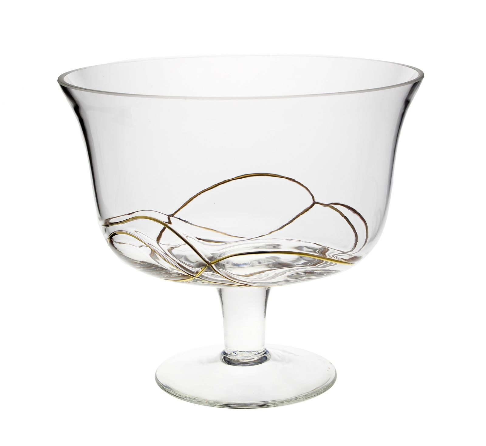 Footed Bowl with Gold Swirl Design