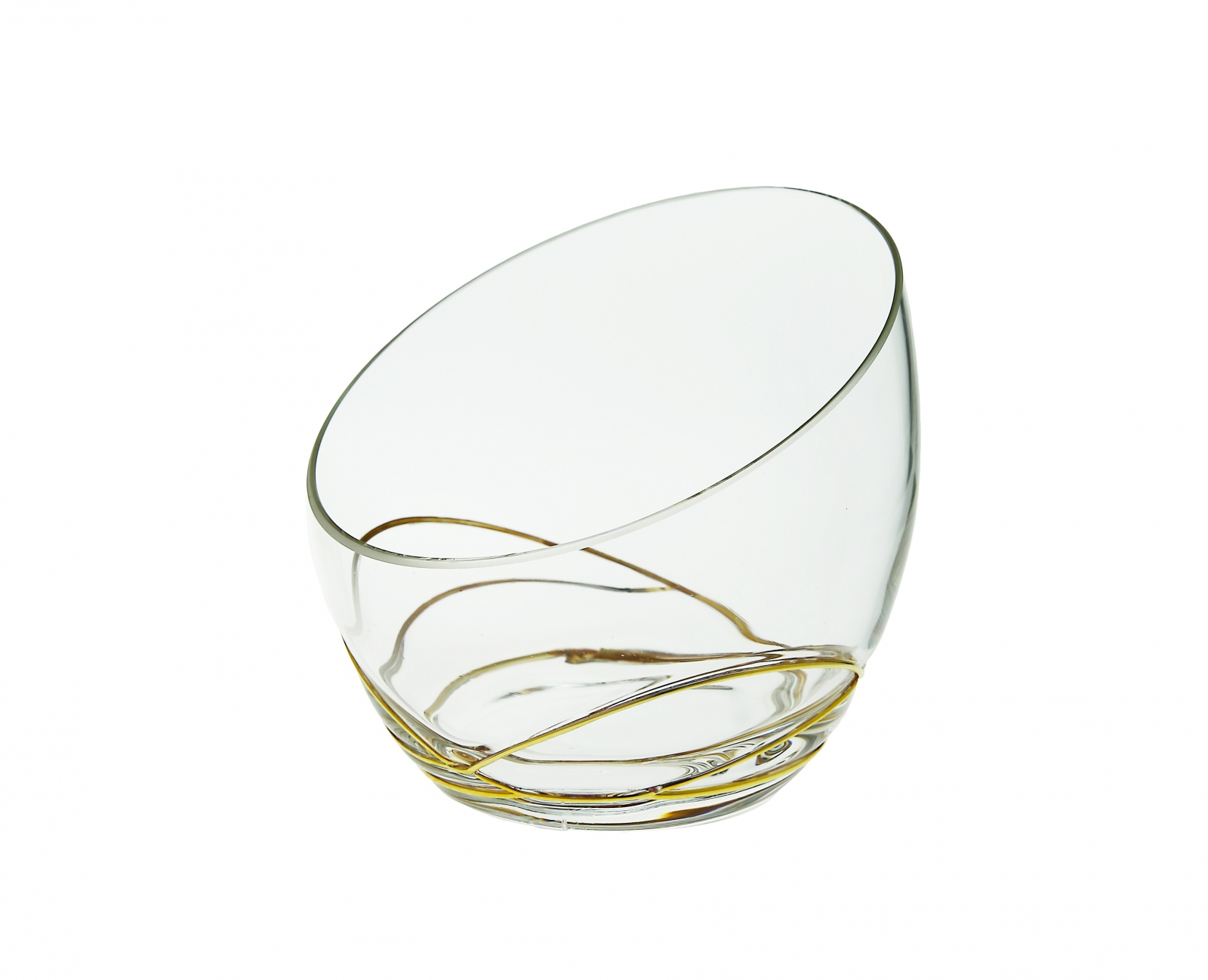 Glass Egg Shaped bowl with Swirl Gold Design