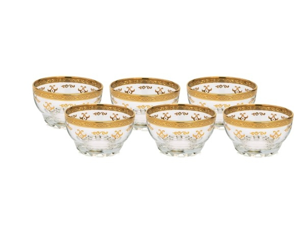 Set of 6 Dessert Bowls with Rich Gold Artwork