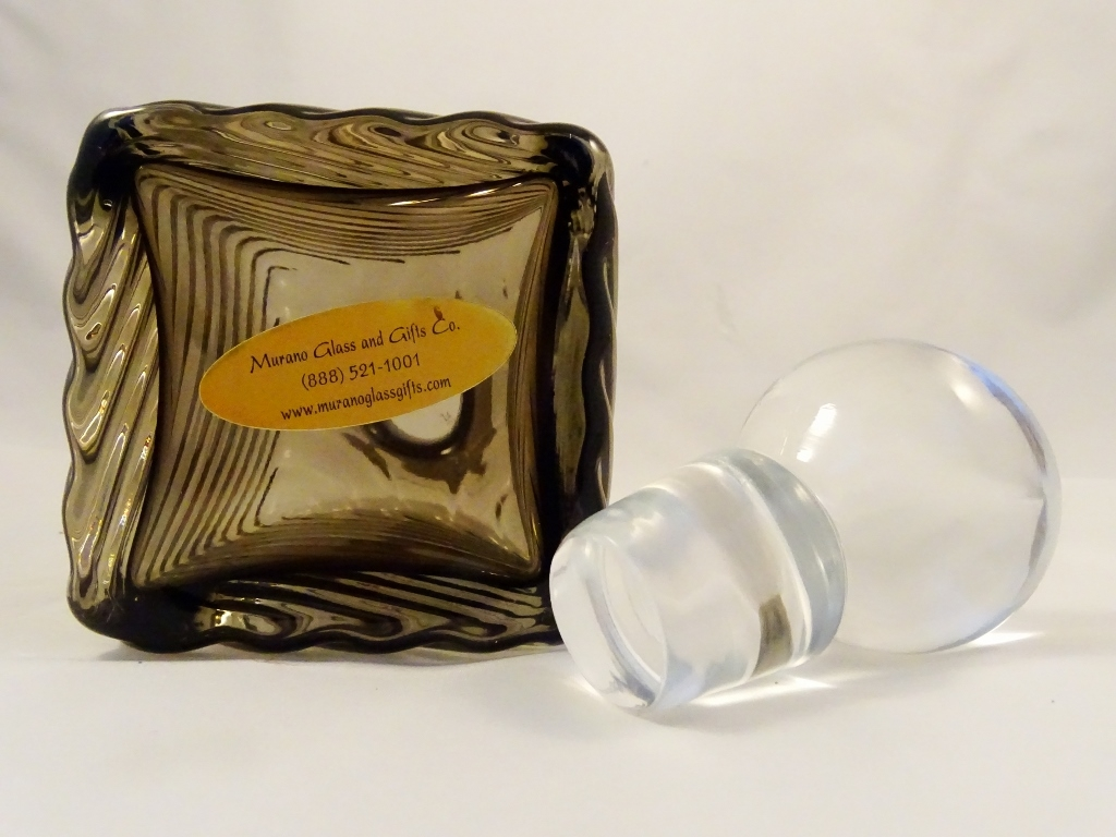 Bronze Glass Square Decanter With Clear Lid