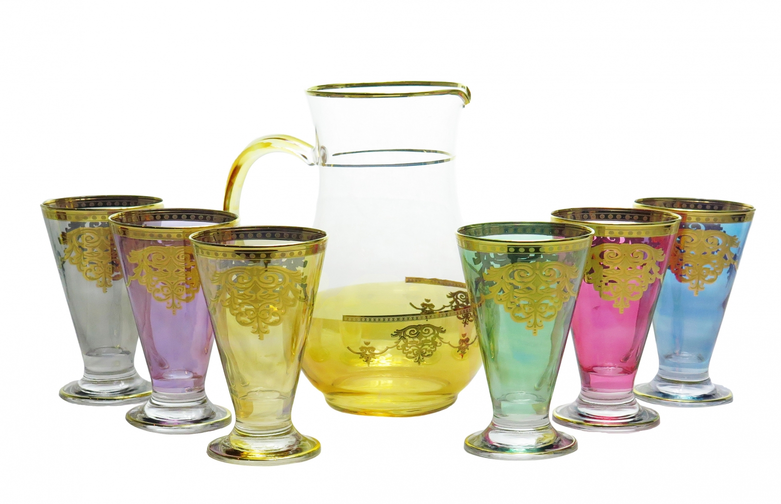 7 Piece Drinkware Set with Gold Artwork- Assorted Colors