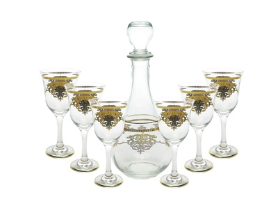 7 Piece Wine Set with Gold Artwork