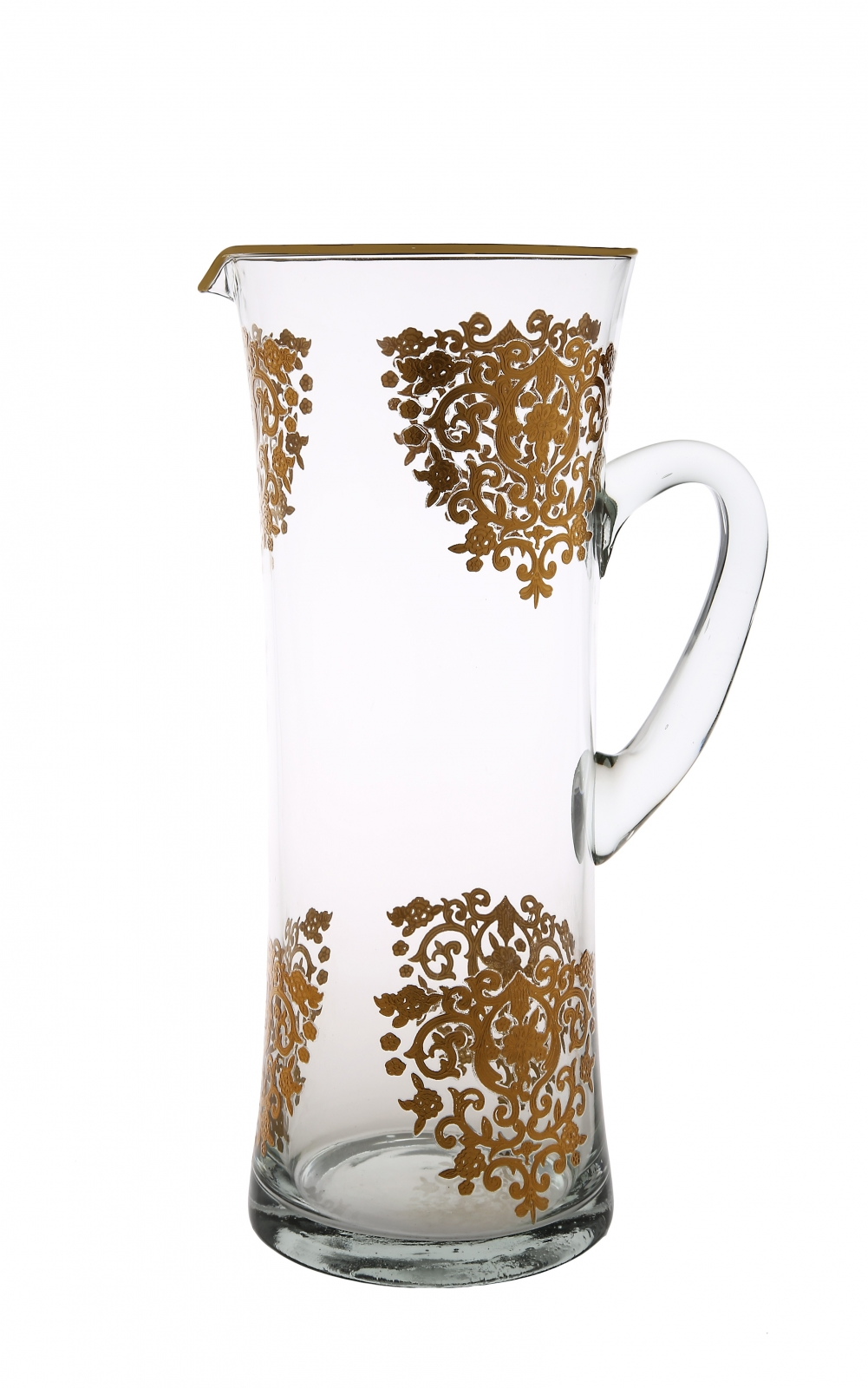 Glass water pitcher with rich gold artwork