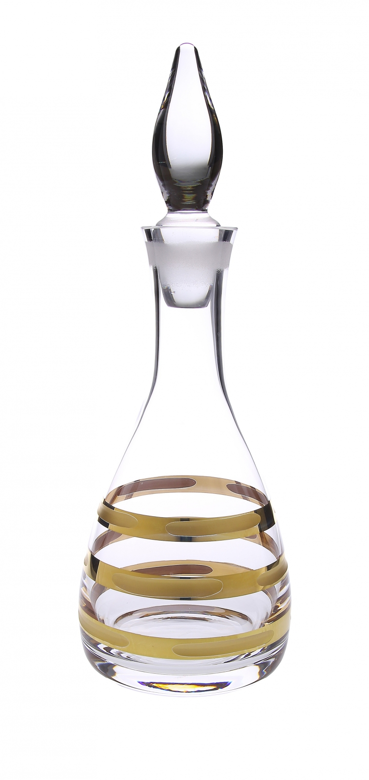 Glass Wine Decanter with 14K Gold Brick Design