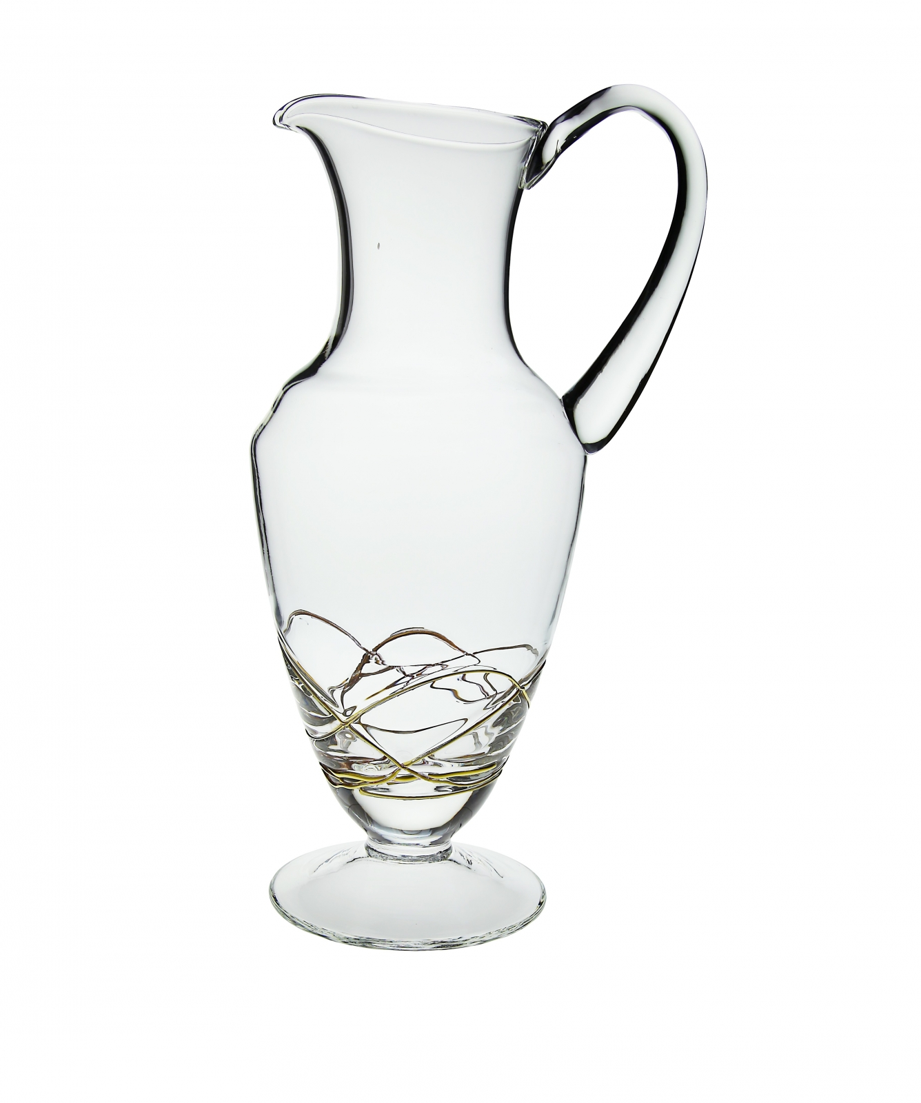 Pitcher with Gold Swirl Design