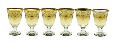 Set of 6 Amber Short Stem Glasses with Gold Design