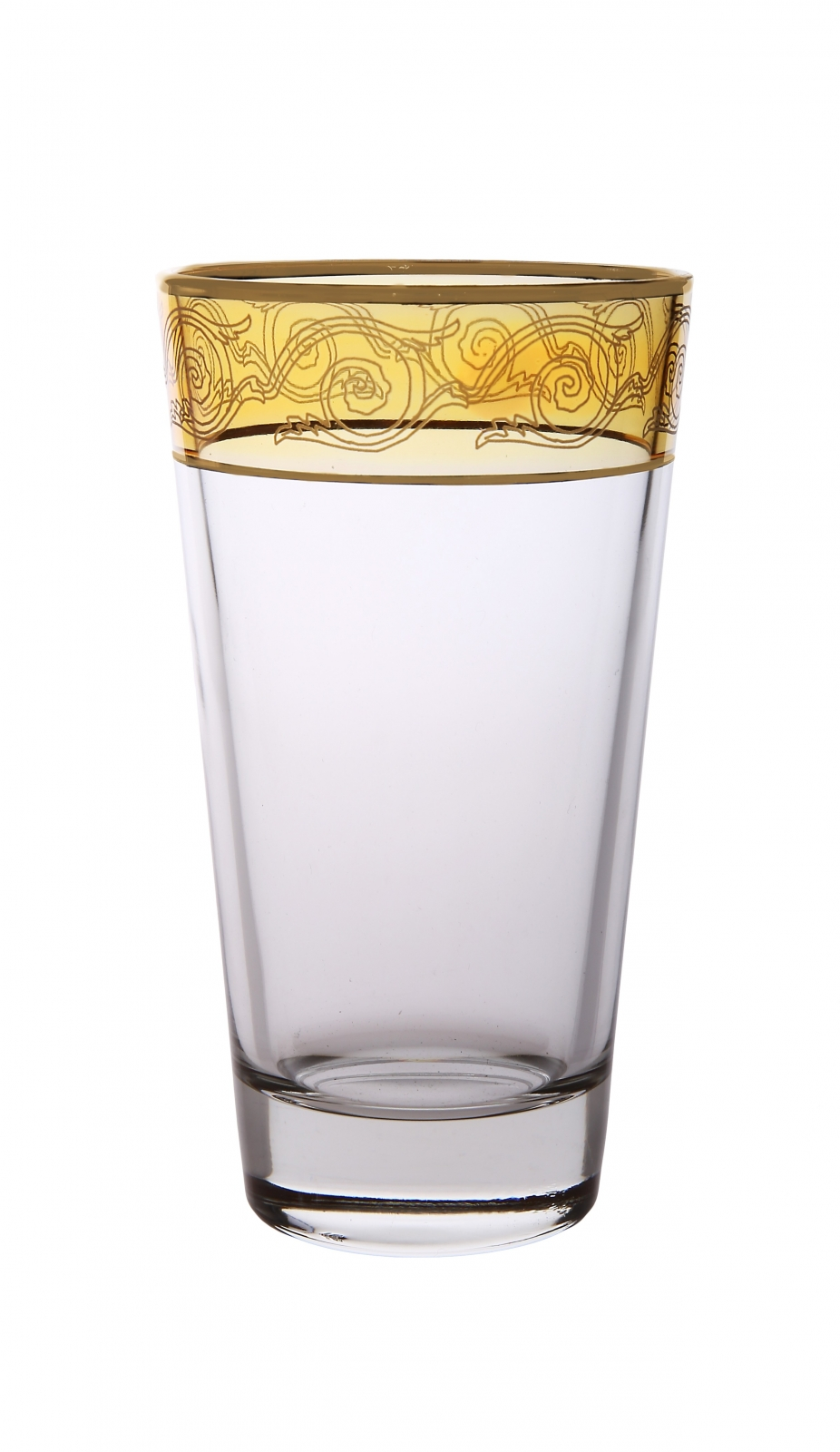 Set of 6 Amber Tumblers With Gold Design
