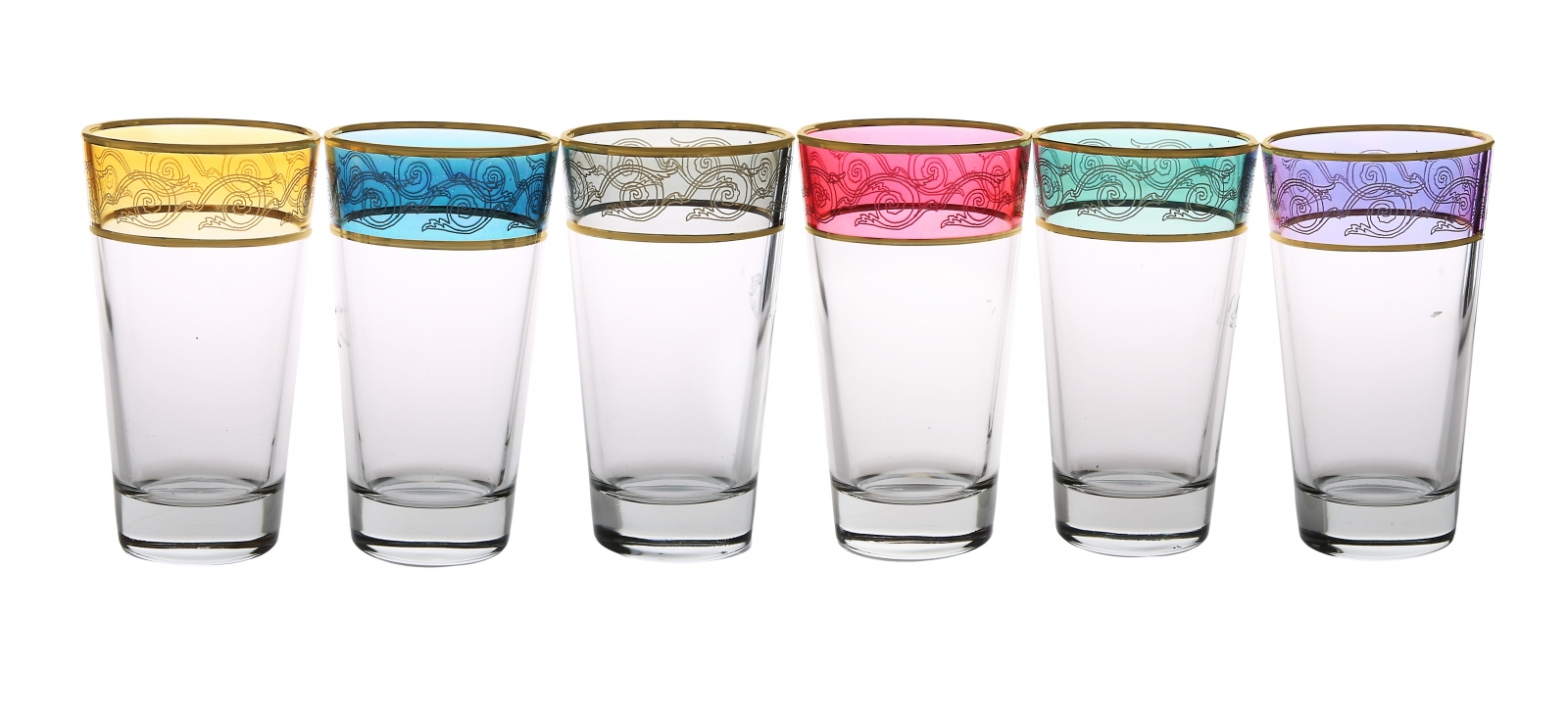 Set of 6 Assorted Colored Tumblers With Gold Design