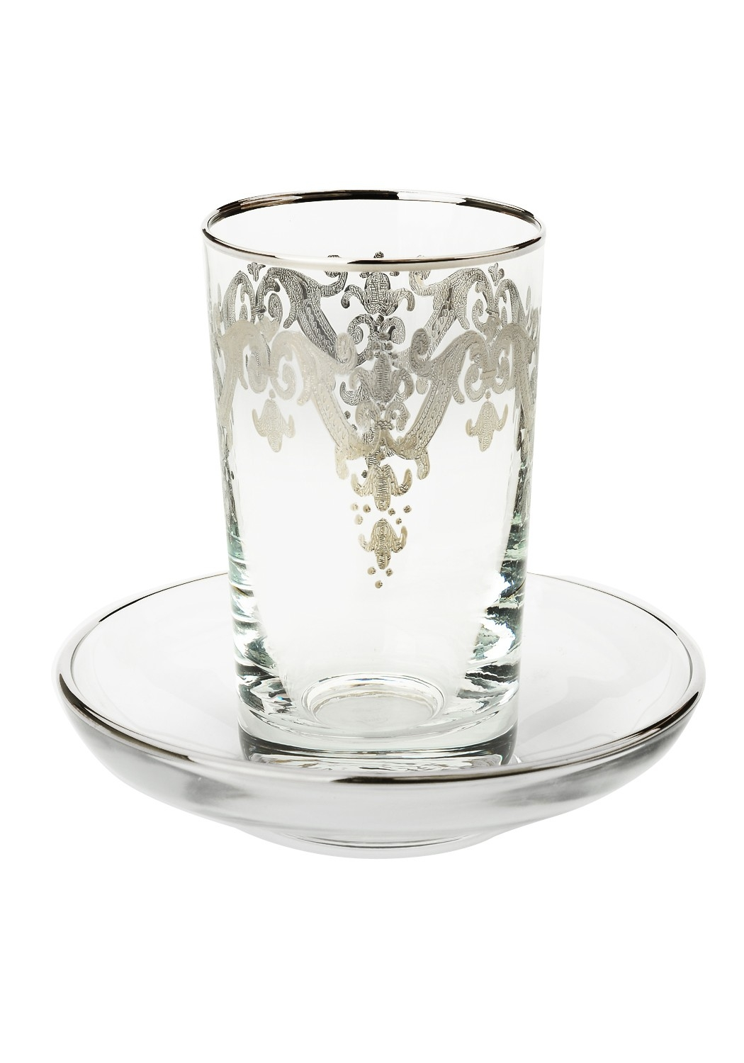 Set of 6 Cups with Tray with Silver Artwork