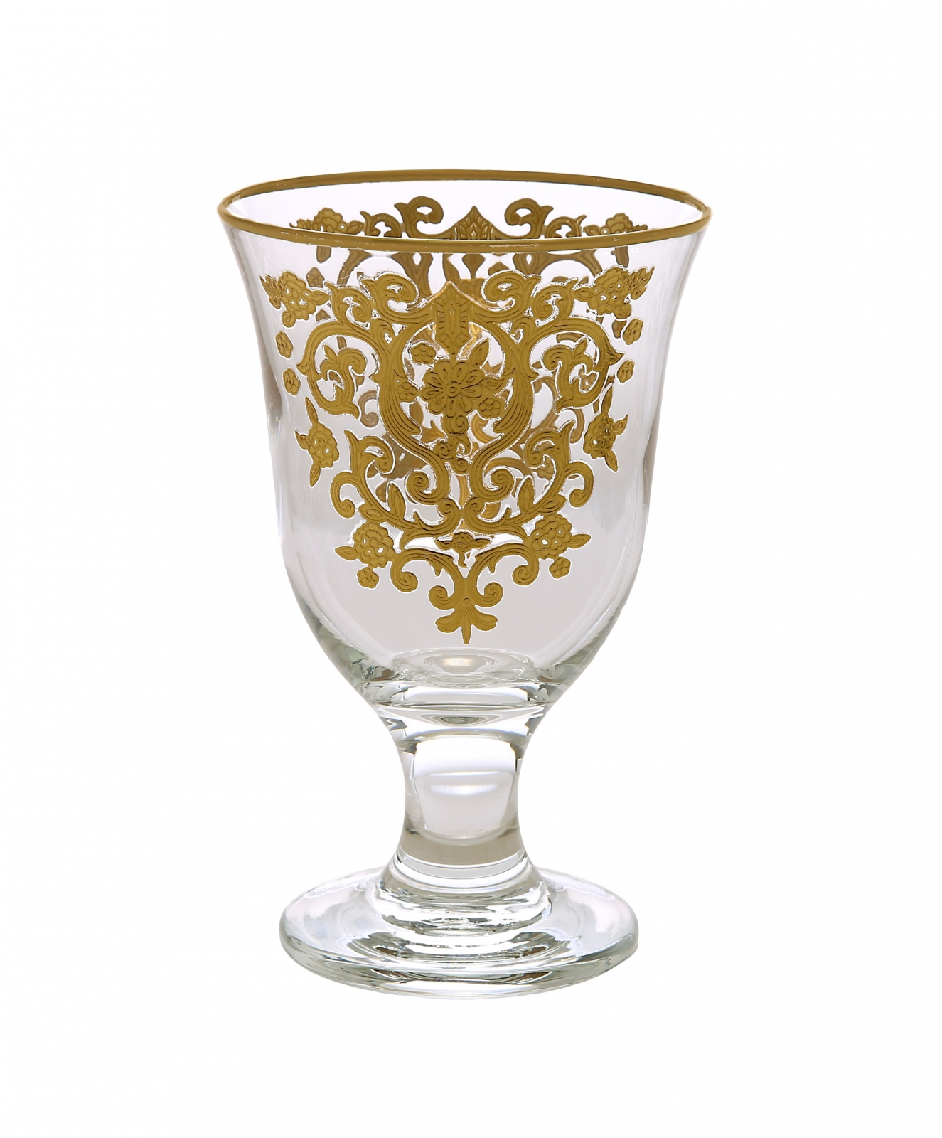 Set of 6 Short stem Glasses with Rich Gold Artwork