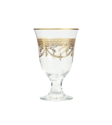 Set of 6 Wine Glasses With Rich Gold Design- Dishwashing Safe