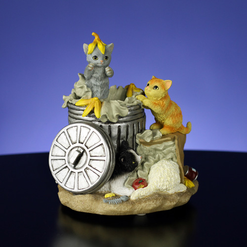 Animated Garbage Can Cats Figurine