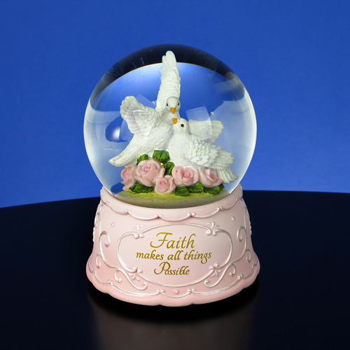 Faith Makes All things Possible Doves - Water Globe