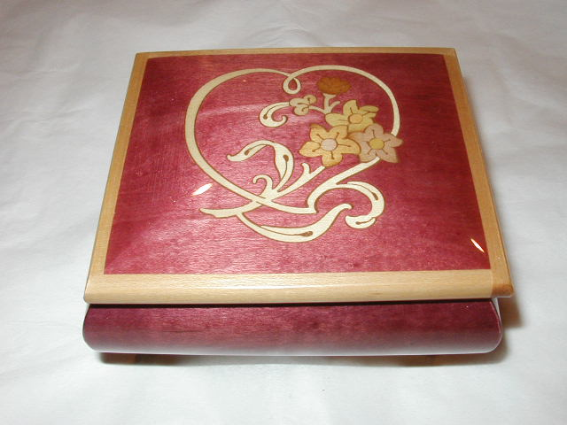 Sorrento wine red heart and flower  music box