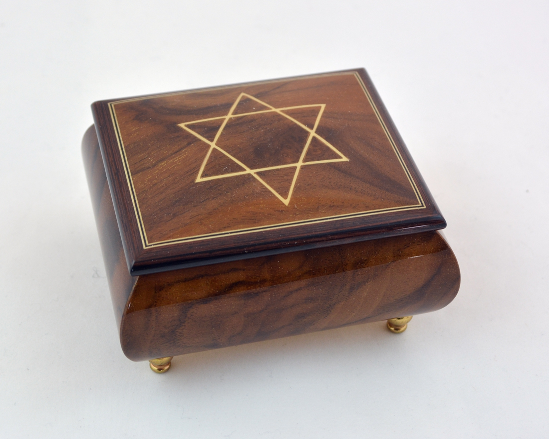 Burl walnut Music Box w/ White Star of David