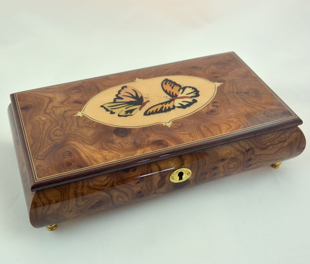 Made in Italy Sorrento Butterflies inlay music box