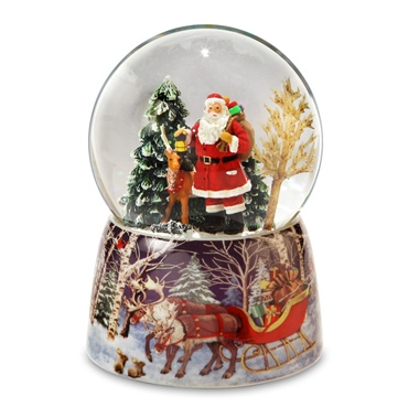 Santa and Reindeer Snow Globe