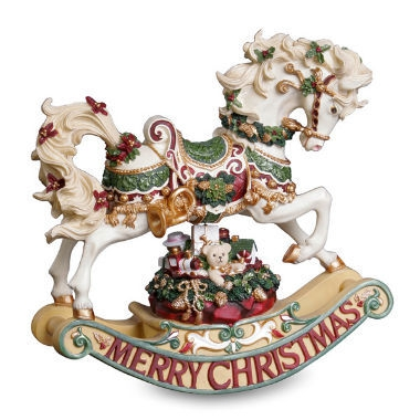 Christmas Rhapsody Rocking Horse Figurine Music box