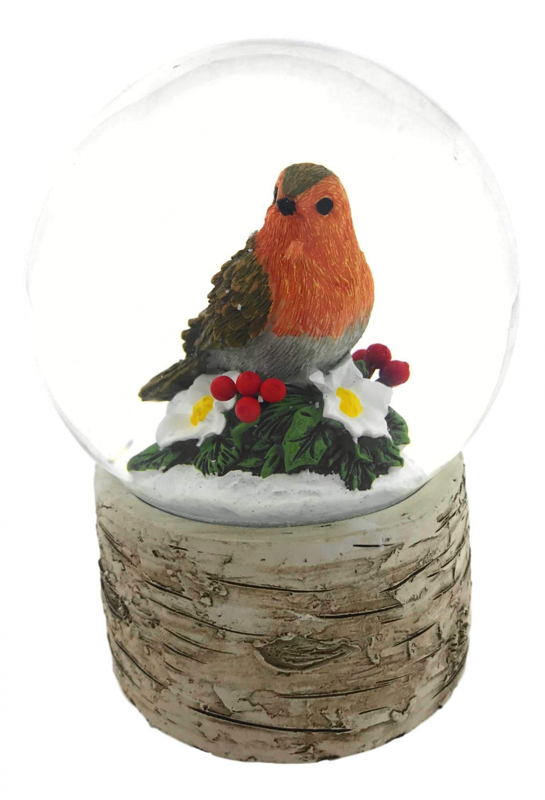 Resting Robin on Holly Snow Globe