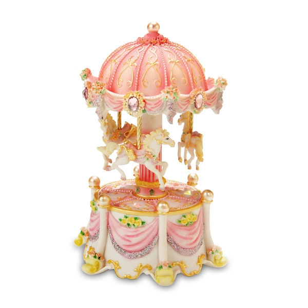 Carousel Dreams mini 3-Horse Rotating Figurine