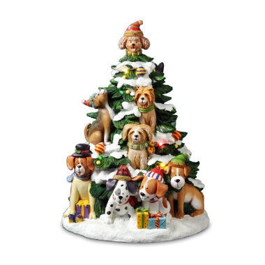 Musical Holiday Dogs Tree Figurine