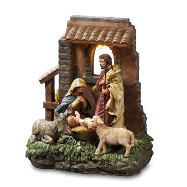 Holy family in Stable Window Figurine