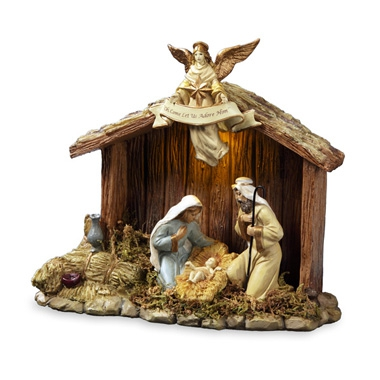 Nativity Stable w/ Holy Family Figurine