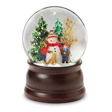 snowman friends snow globe