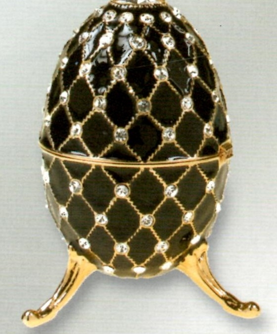 Black musical jewelry egg