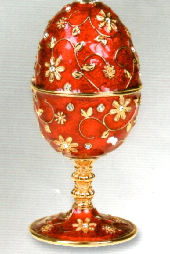 Red musical jewelry egg with leg