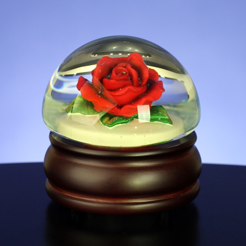 Red Rose Mushroom Water Globe Music box