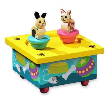 Kitty Puppy Wooden Music Box