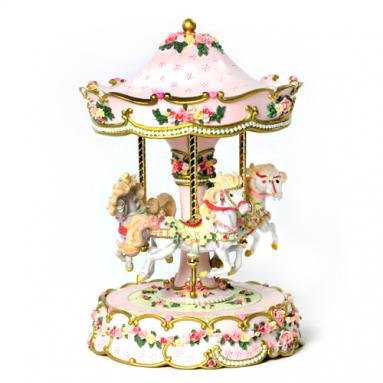 Hearts and Roses 3 Horse Carousel Music Box