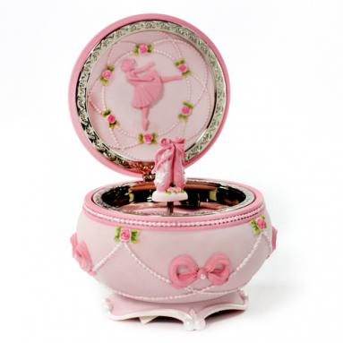 Ballerina and Bows Hinged Trinket Musical Box