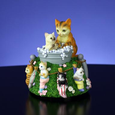 Cat in Bath Figurine