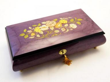 Gorgeous Purple  High Gloss Flowers Inlay Music box