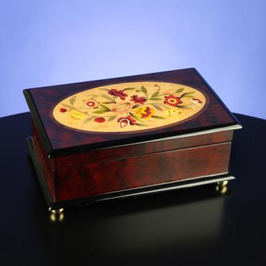 Classic Floral Musical Wooden Jewelry Box