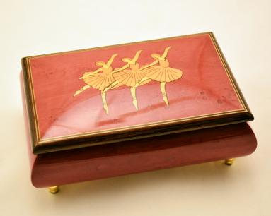 High gloss red ballerina music box