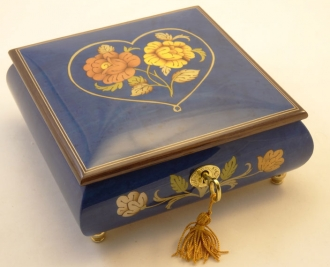 Dark Blue High Gloss Heart and Flowers inlay music box