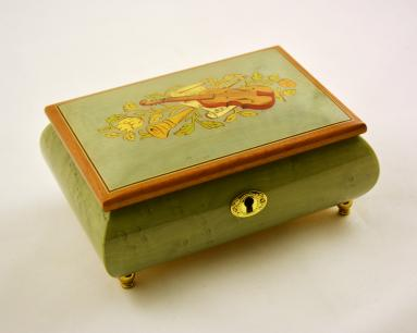 Turquoise high gloss musical Inlay music box