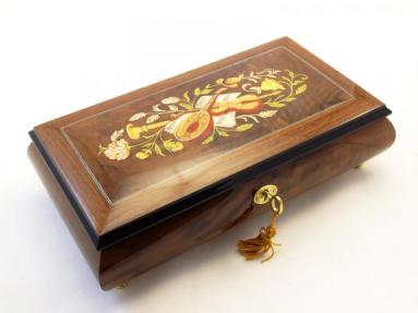 Large Burlwalnut Wooden Jewelry Music box with Musical Inlay