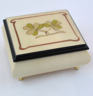 ERCOLANO HIGH GLOSS MUSIC BOX WITH TWO SHEAMROCKS