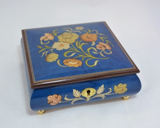 Dark Blue Floral Jewelry Music Box