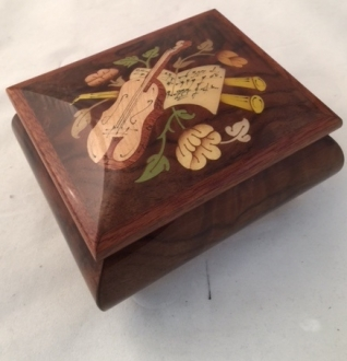 High Gloss walnut musical inlaid music box