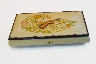 White High Gloss Music box with violin inlay